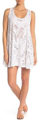 J Valdi Leaf Pattern Mesh Tunic Cover-Up
