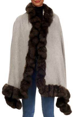 Gorski Cashmere Stole with Sable-Fur Trim