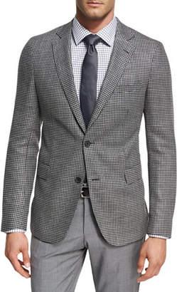 BOSS Houndstooth Jersey Wool Sport Coat, Charcoal