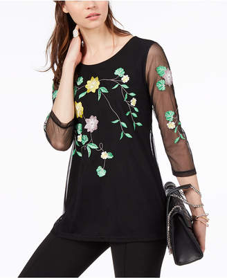 Alfani Embroidered Embroidered Illusion Top, Created For Macy's
