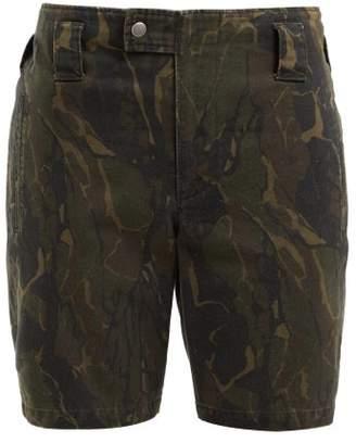Saint Laurent Camouflage Print Cotton Blend Longline Shorts - Womens - Green Print