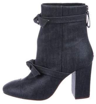 Alexandre Birman Denim Round-Toe Ankle Boots