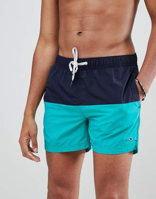 Tommy Hilfiger color block flag logo swimshorts in navy/green