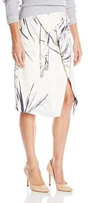 Halston Women's Printed Wrap Midi Skirt with Waist Drape