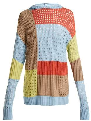 House of Holland Patchwork Hooded Wool Blend Sweater - Womens - Multi