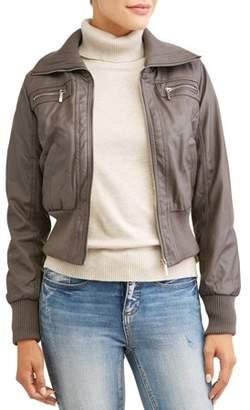Yoki Women's Faux Leather Bomber Jacket