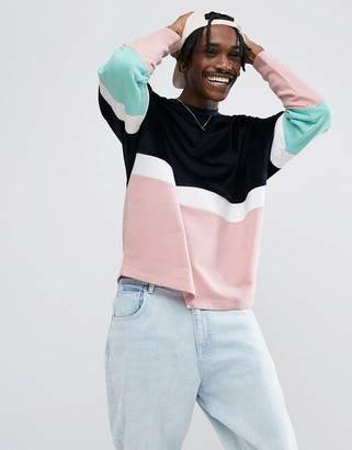 Asos DESIGN Oversized Sweatshirt With Velour Color Blocking