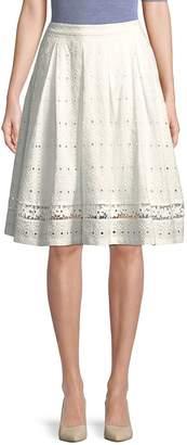 Karl Lagerfeld Paris Women's Eyelet Cotton Knee-Length Skirt
