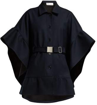 RED Valentino Belted Twill Cape - Womens - Navy