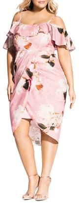 City Chic Plus Floral-Print Cold-Shoulder Dress