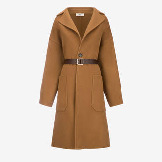 Bally Oversized Wool Trench Coat Brown, Women's double faced wool coat in cowboy