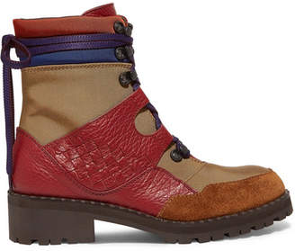 Bottega Veneta Intrecciato Color-block Canvas, Textured-leather And Suede Ankle Boots