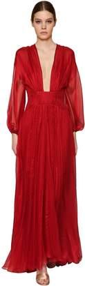Maria Lucia Hohan Long Metallic Silk Mousseline Dress
