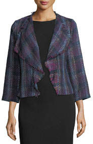 Waterfall-Front Plaid Jacket