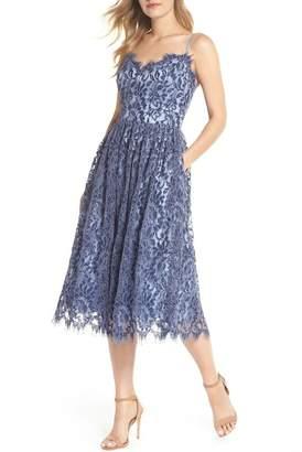 Eliza J Gathered Lace Midi Dress (Regular & Petite)