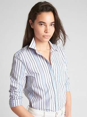 Gap Fitted Boyfriend Stripe Shirt in Poplin
