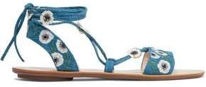 Loeffler Randall Floral-Appliquéd Embroidered Tweed Sandals