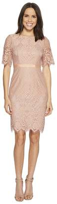 Adrianna Papell Georgia Scalloped Lace Sheath Dress with Rounded Neckline, Pegged Skirt, and Elbow Length Bell Sleeves, Partially Lined (Peach/Lila...