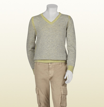 Gucci Light Grey And Yellow Cotton Long Sleeve V-Neck
