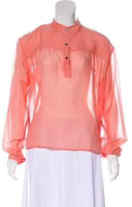 Etoile Isabel Marant Long Sleeve Silk-Blend Blouse