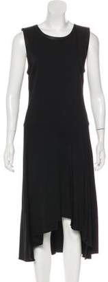 Alexander Wang Leather-Trimmed Midi Dress Black Leather-Trimmed Midi Dress