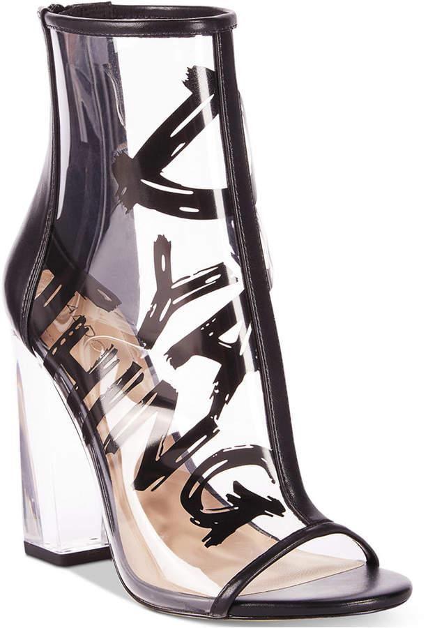 Aldo Gabbi Lucite-Heel Peep-Toe Booties Women's Shoes