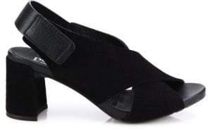 Pedro Garcia Wara Crisscross Leather Block Heel Slingbacks