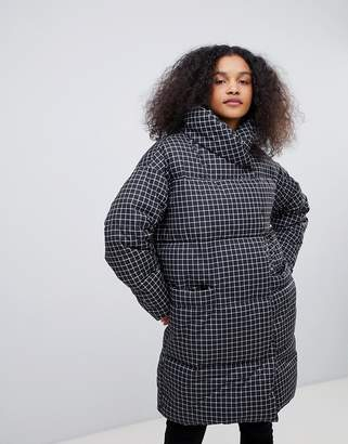 Monki check padded coat