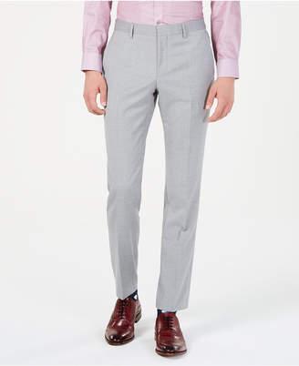 HUGO BOSS Men's Modern-Fit Light Gray Sharkskin Suit Pants