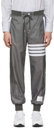 Thom Browne Grey Ripstop Lightweight Four Bar Lounge Pants