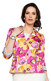 Joan Rivers Classics Collection Joan Rivers Floral 3/4 Sleeve Jacket