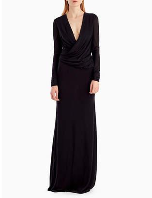 Jason Wu Long-Sleeve Draped-Neckline Jersey Crepe Evening Gown