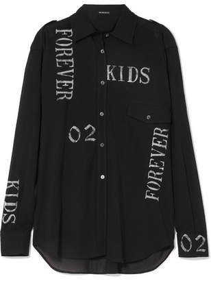Ann Demeulemeester Printed Cotton-voile Shirt - Black