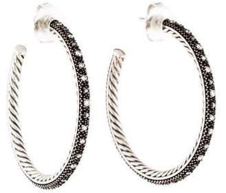 David Yurman Diamond Midnight Mélange Large Hoop Earrings