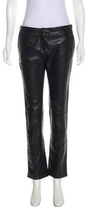 Pierre Balmain Mid-Rise Leather Pants