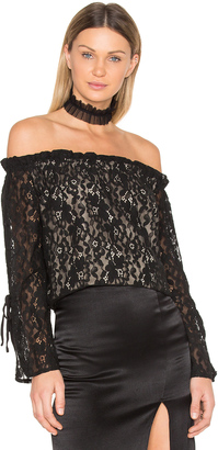 J.O.A. Lace Off the Shoulder Top $70 thestylecure.com