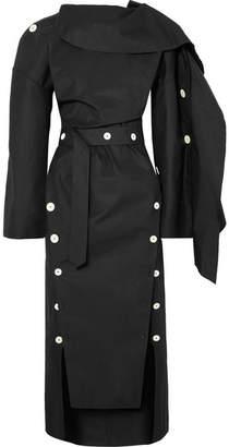 Awake Backless Button-embellished Twill Midi Dress - Black