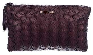 Miu Miu Woven Leather Clutch