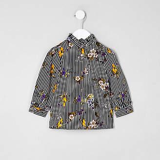River Island Mini girls navy poplin stripe floral shirt
