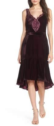 Harlyn Lace Inset Velvet Midi Dress