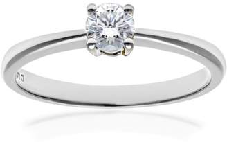 N. Naava Women's 9 ct Yellow Gold Round Brilliant IJ/I Certified 0.25 ct Diamond Solitaire Engagement Ring, Size