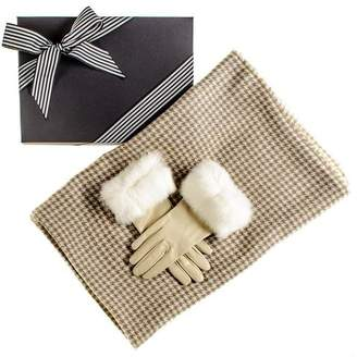 Black Houndstooth Ring Shawl and Fur Cuff Leather Gloves Gift Set