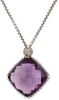 David Yurman Amethyst & Diamond Cushion On Point Pendant Necklace