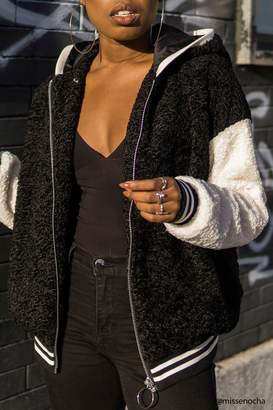 Forever 21 Contrast Faux Shearling Jacket