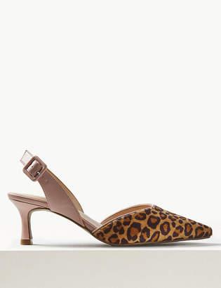 0fd1c8d2934 Marks and Spencer Animal Print Kitten Heel Slingback Shoes