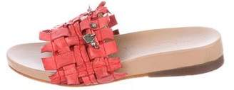 Henry Beguelin Woven Leather Slide Sandals