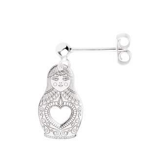 CarterGore - Silver Russian Doll Single Short Drop Earring