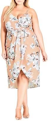 City Chic Paper Floral Mock Wrap Dress