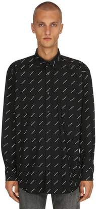 Balenciaga Logo Printed Cotton Poplin Shirt