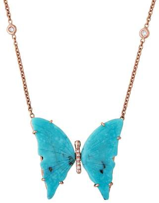 Jacquie Aiche Medium Turquoise Butterfly Necklace - Rose Gold